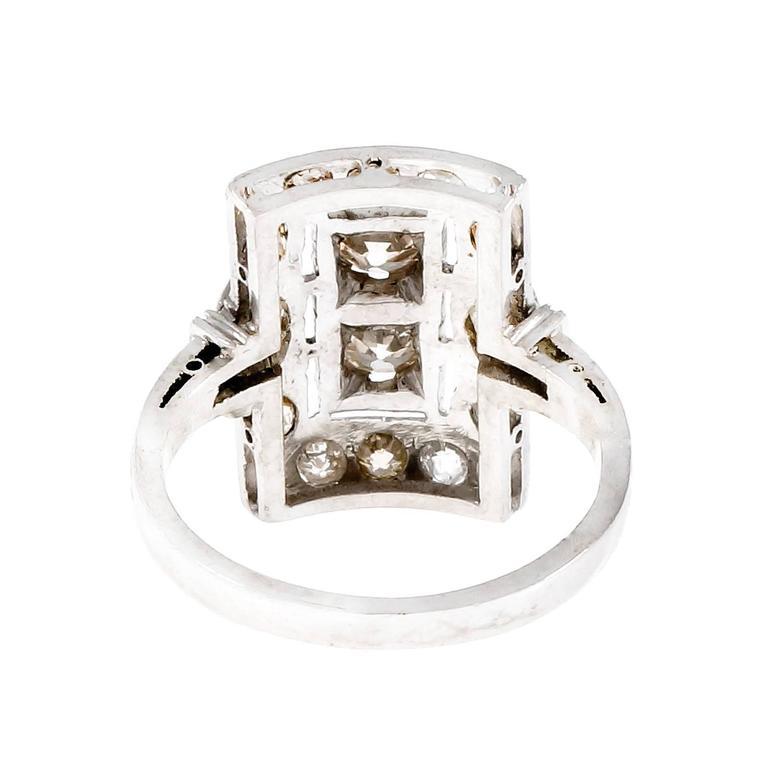 Art Deco Old European Cut Diamond Platinum Ring  Circa 1920 2