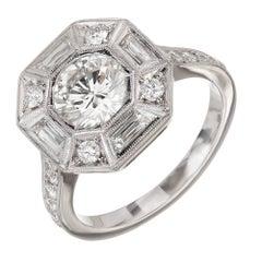 GIA Certified Peter Suchy 1.26 Carat Diamond Octagonal Platinum Engagement Ring