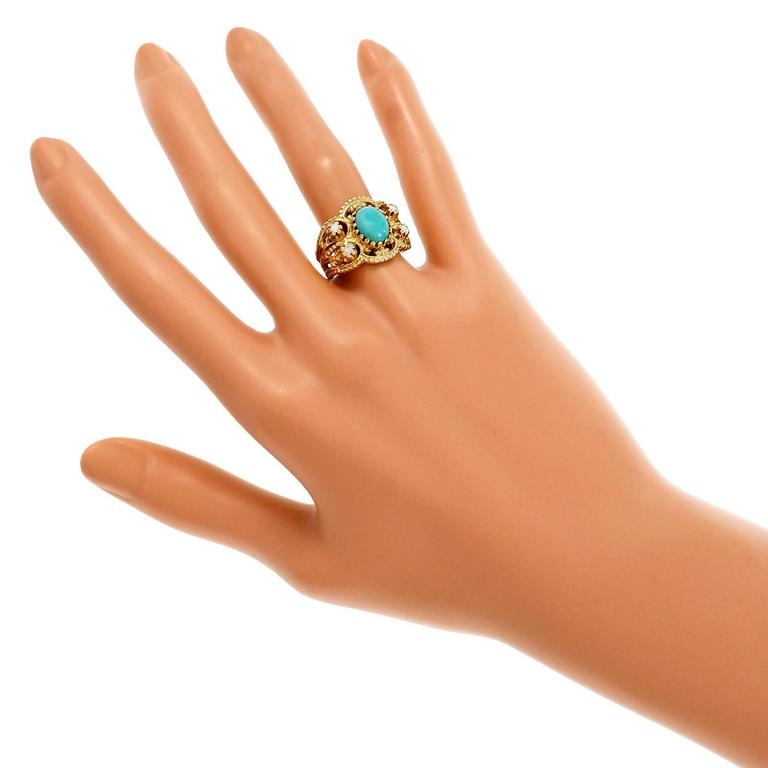 Natural Persian Turquoise Diamond Gold Byzantine Cocktail Ring 6