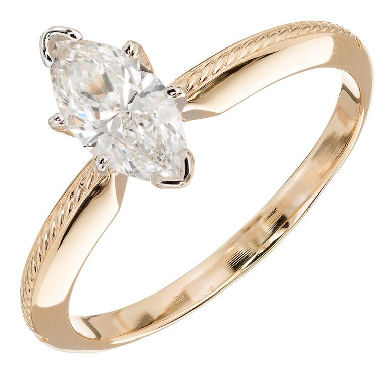 GIA Certified .80 Carat Marquise Diamond Solitaire Gold Engagement Ring