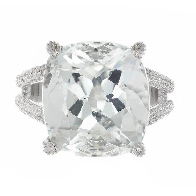 15.00 Carat Aquamarine Micro Pave Diamond Platinum Cocktail Ring