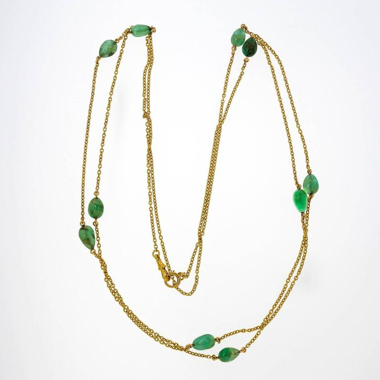 Women's Victorian Emerald Beaded Yellow Gold Necklace For Sale
