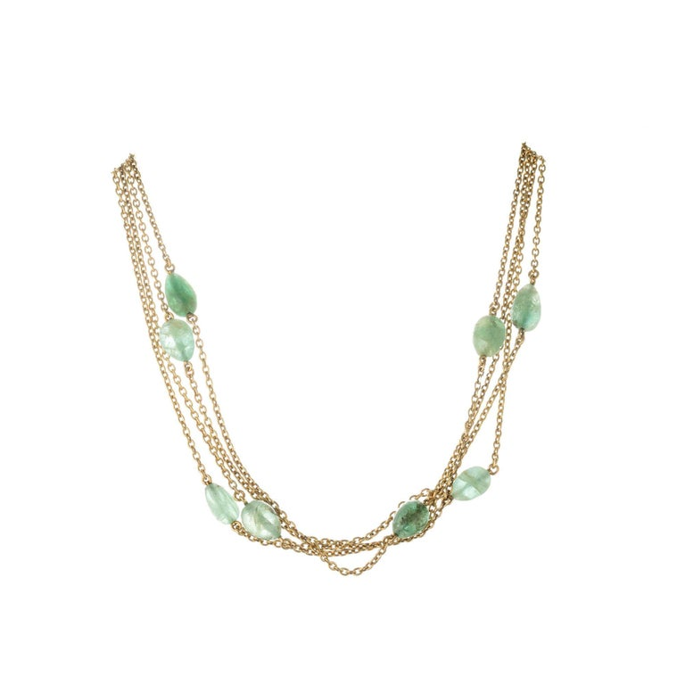 50.00 Carat Emerald Beaded Yellow Gold Victorian Necklace In Good Condition For Sale In Stamford, CT