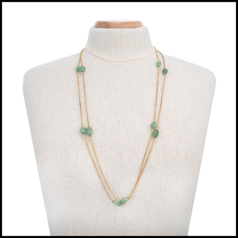 50.00 Carat Emerald Beaded Yellow Gold Victorian Necklace For Sale 2