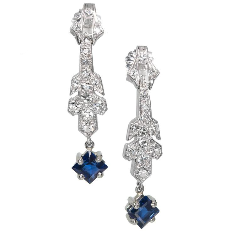 Art Deco Sapphire Diamond Platinum Dangle Earrings