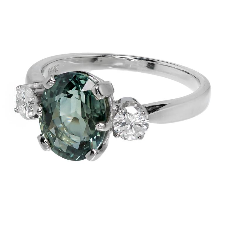 Green Diamond Engagement Ring For Sale