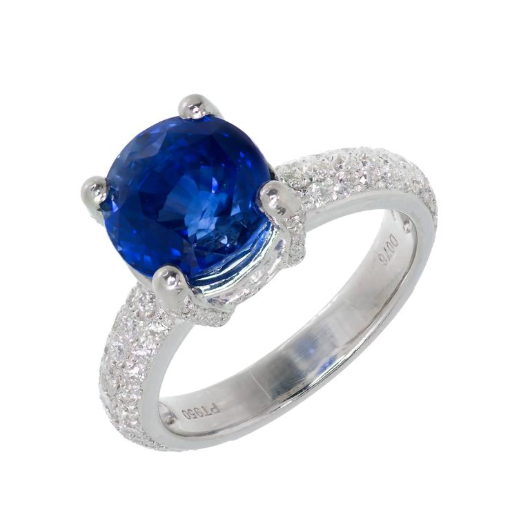 5 05 Carats Round Blue Sapphire Diamond Platinum Engagement Ring For Sale at