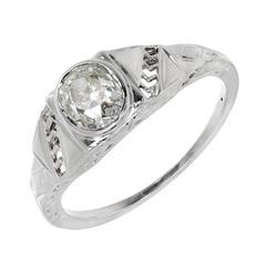 1930s Art Deco Old Mine Brilliant Cut Diamond Gold Engagement Ring