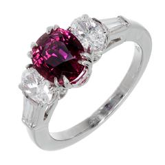 Peter Suchy Burma Myanmar Red Ruby Diamond Platinum Engagement Ring
