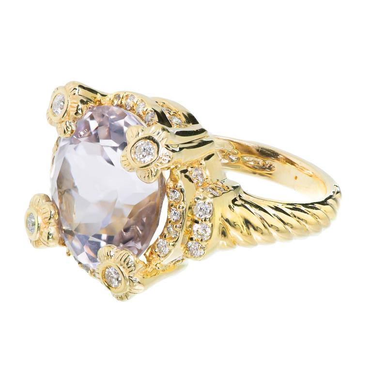 Round Morganite Diamond Gold Cocktail Ring For Sale at 1stdibs