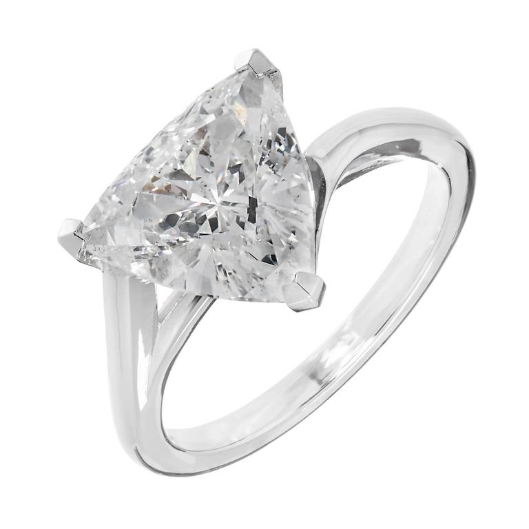 Peter Suchy Triangle Diamond Solitaire Platinum Engagement Ring