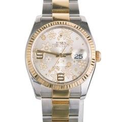 Rolex Ladies Yellow Gold Stainless Steel Flower Datejust Wristwatch Ref 116233