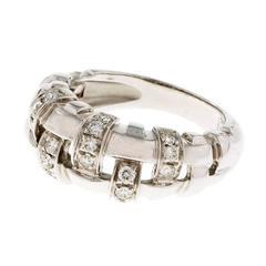 Tiffany & Co. Diamond Basket Weave Gold Ring