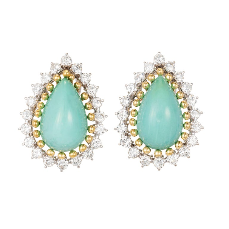 GIA Certified Natural Pear Turquoise Diamond Halo Gold Earrings