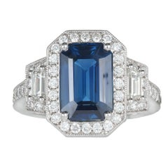 Peter Suchy GIA 3.88 Carat Sapphire Halo Diamond Platinum Engagement Ring
