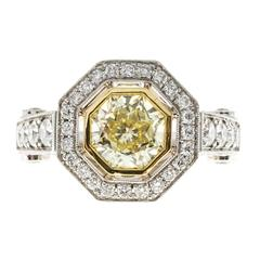 Peter Suchy 1.12 Carat Light Natural Yellow Diamond Platinum Engagement Ring
