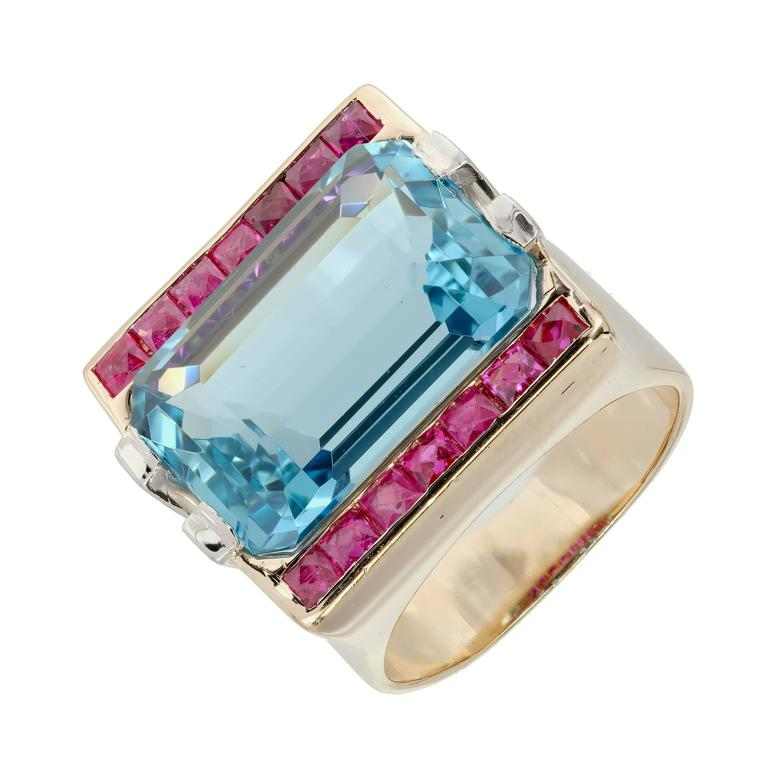 15.83 Carat Natural Aquamarine Ruby Diamond Rose Gold Cocktail Ring In Good Condition For Sale In Stamford, CT