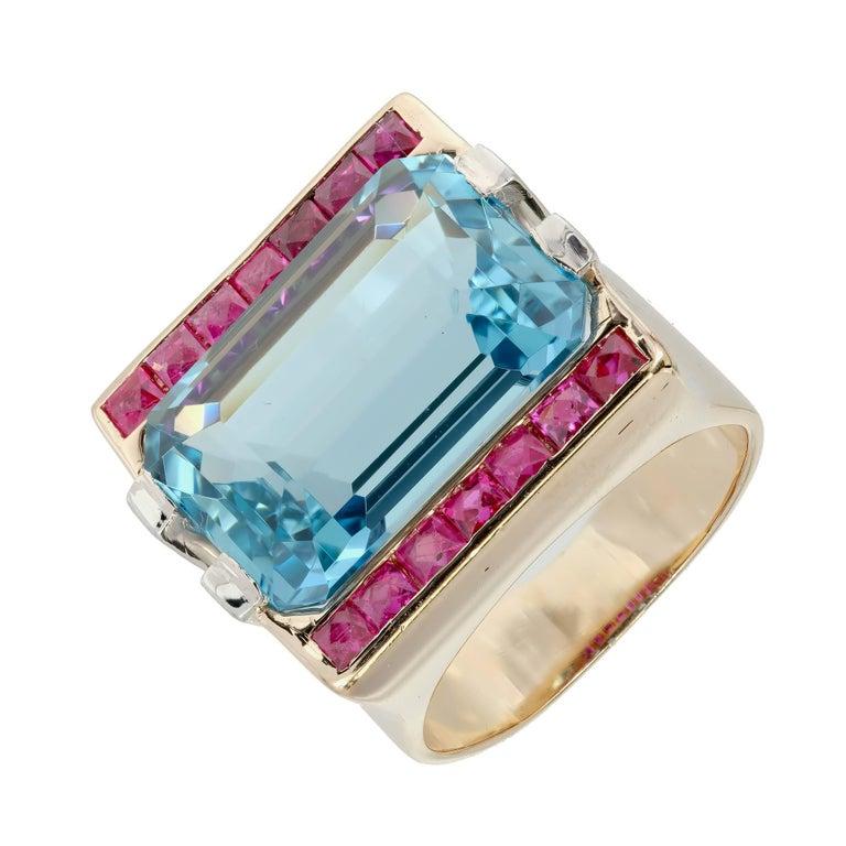 15.83 Carat Natural Aquamarine Ruby Diamond Rose Gold Cocktail Ring 3