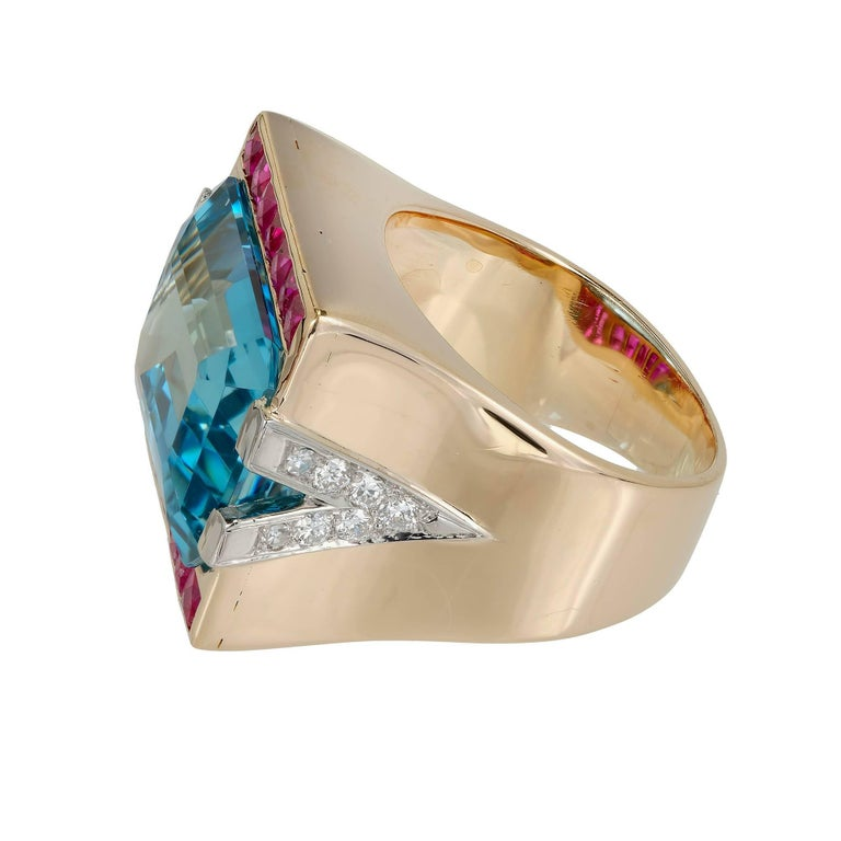 15.83 Carat Natural Aquamarine Ruby Diamond Rose Gold Cocktail Ring 4