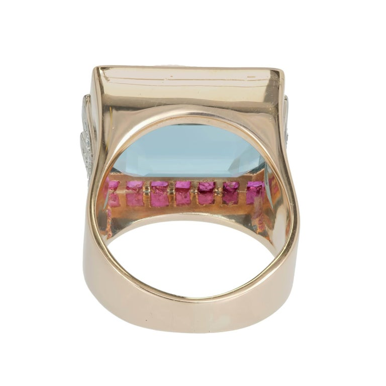 15.83 Carat Natural Aquamarine Ruby Diamond Rose Gold Cocktail Ring 5
