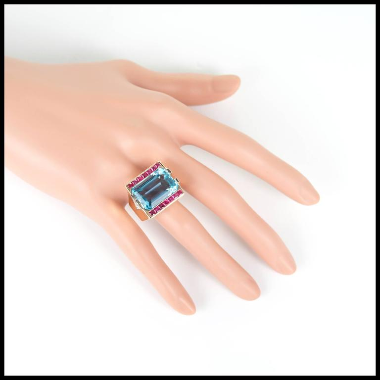 15.83 Carat Natural Aquamarine Ruby Diamond Rose Gold Cocktail Ring For Sale 2