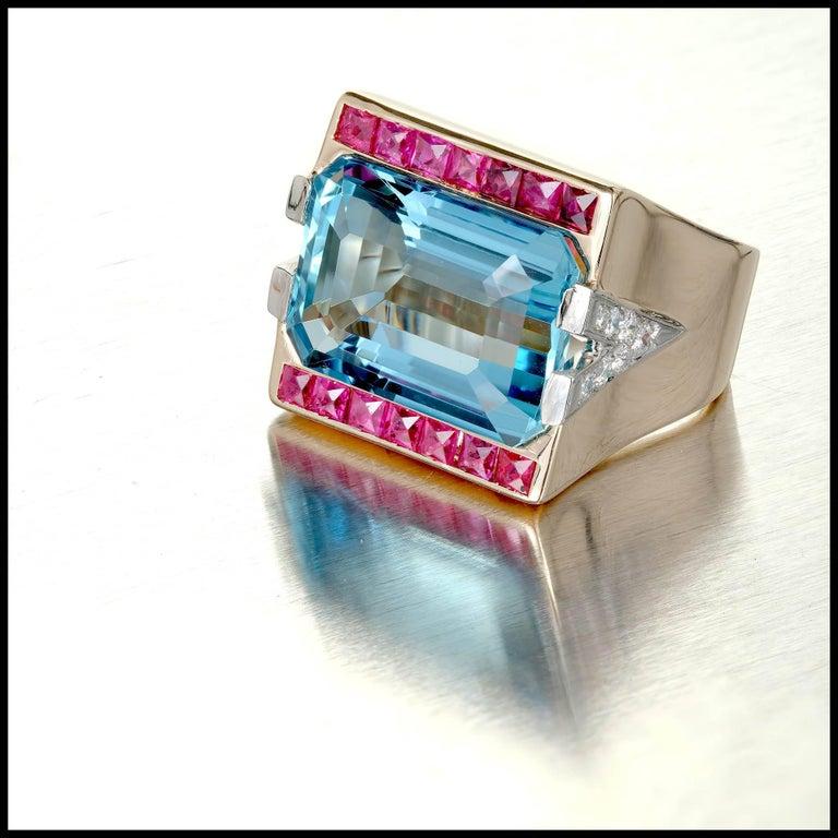 15.83 Carat Natural Aquamarine Ruby Diamond Rose Gold Cocktail Ring 7