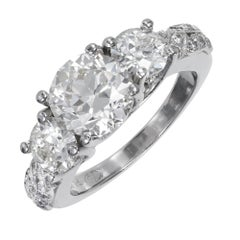 Peter Suchy 3.32 Carat Ideal Cut Diamond Three-Stone Platinum Engagement Ring