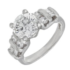 EGL Certified 2.00 Carat Round Baguette Diamond Platinum Ring