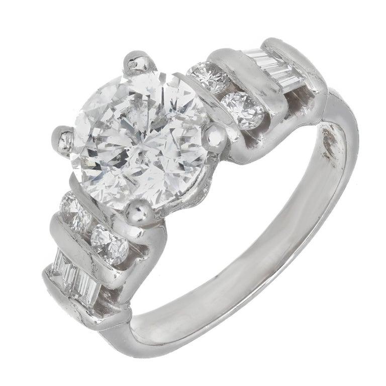 EGL Certified 2.00 Carat Round Baguette Diamond Platinum Ring