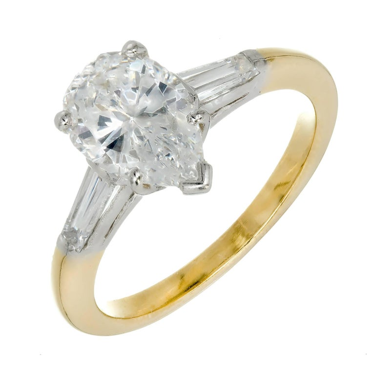 Oscar Heyman GIA Certified 1.45 Carat Pear Diamond Gold Platinum Engagement Ring