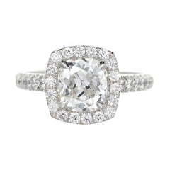 Peter Suchy GIA Certified 1.81 Carat Diamond Halo Platinum Engagement Ring