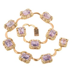 111.11 Carat Amethyst Art Deco Rose Green Gold Necklace