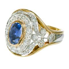 GIA Certified 2.60 Carat Sapphire Diamond Yellow Gold Platinum Cocktail Ring