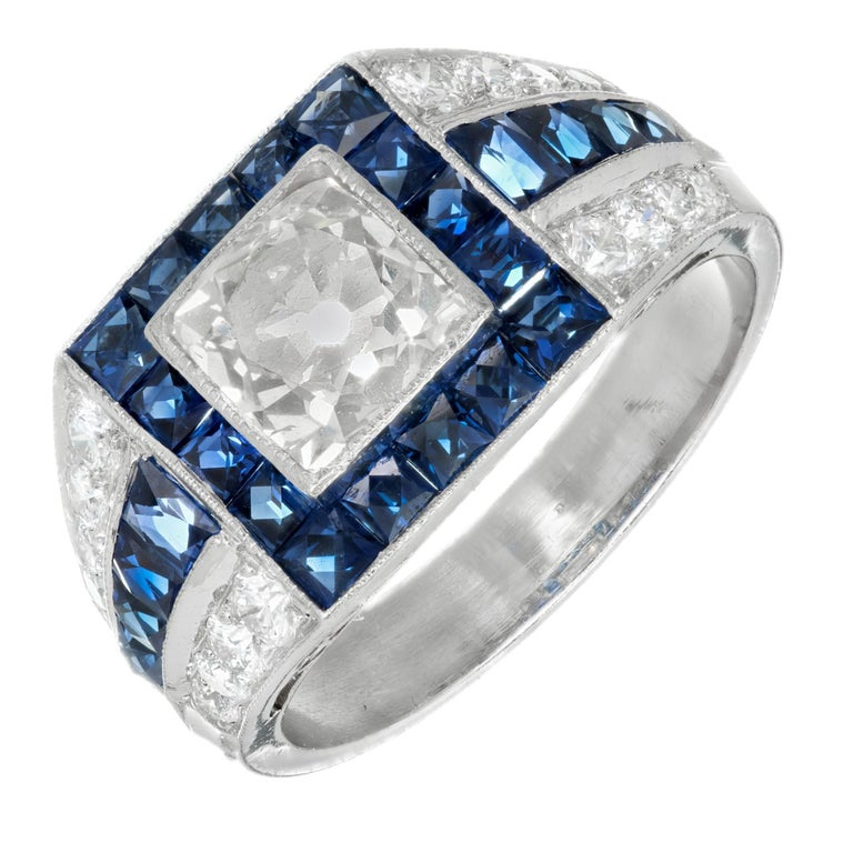 EGL Certified 1.48 Carat Art Deco Sapphire Diamond Platinum Engagement Ring