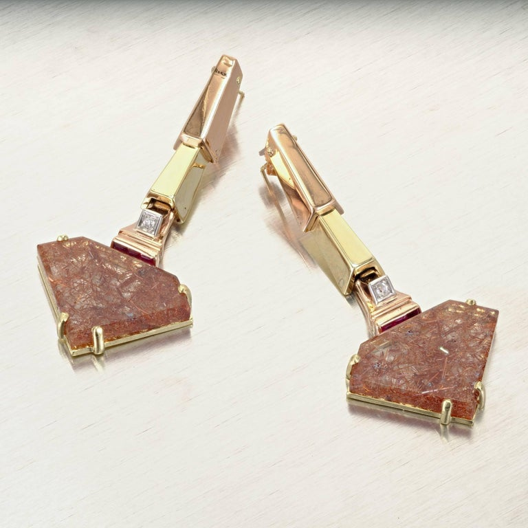 Retro Peter Suchy Quartz Ruby Pink and Green Gold Dangle Earrings For Sale