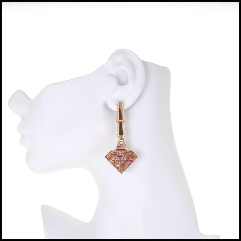 Women's Peter Suchy Quartz Ruby Pink and Green Gold Dangle Earrings For Sale