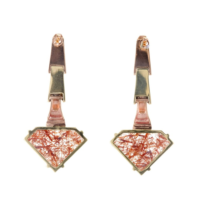 Peter Suchy Quartz Ruby Pink and Green Gold Dangle Earrings For Sale 1