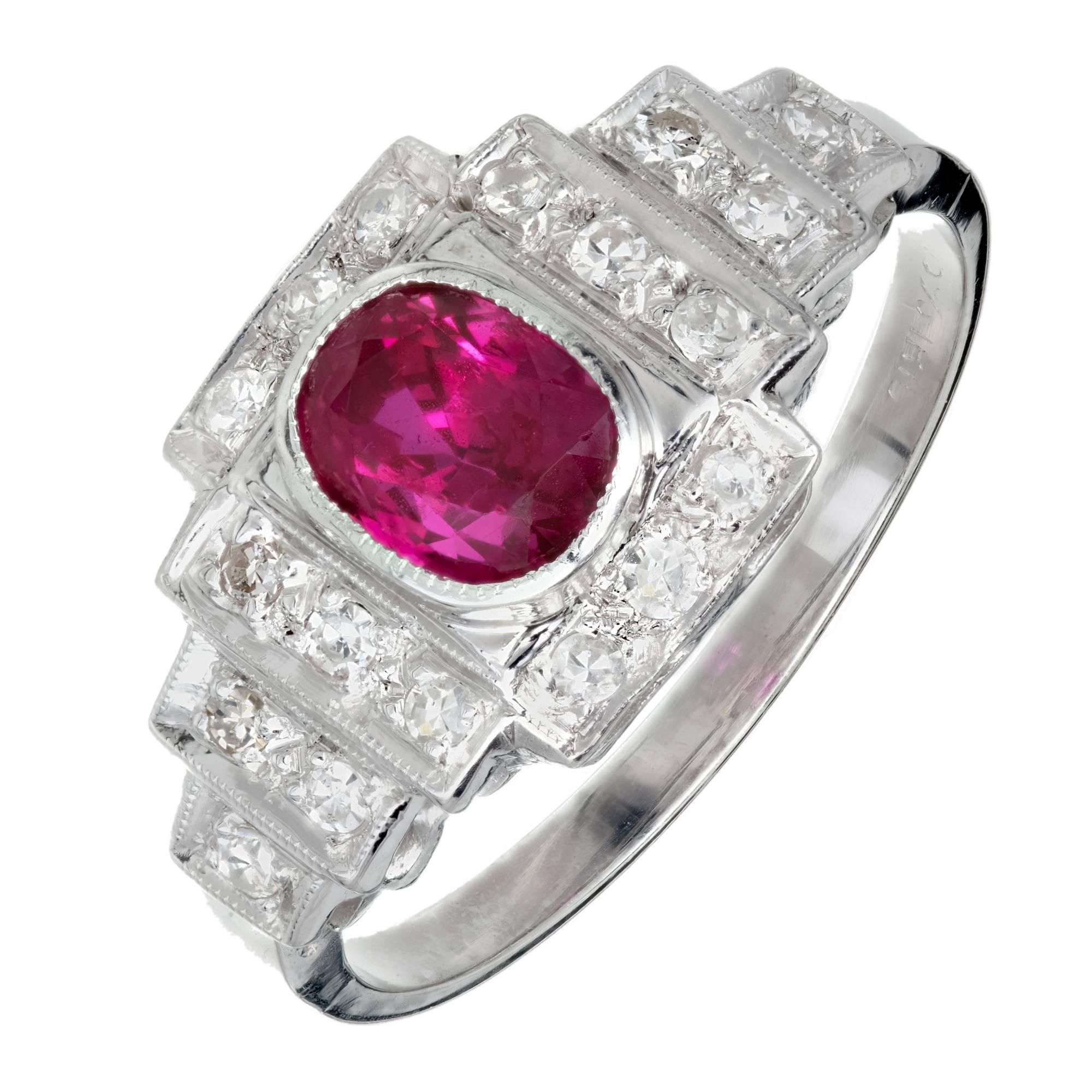 Art Deco GIA Certified 1.04 Carat Natural Ruby Diamond Platinum Engagement Ring