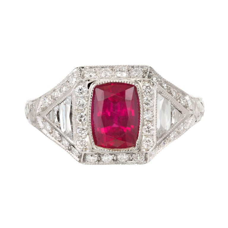 GIA Certified 1.33 Carat Art Deco Natural Ruby Diamond Platinum Cocktail Ring