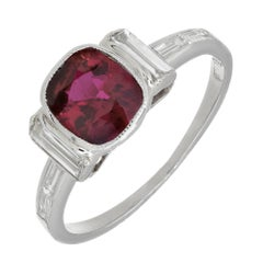 GIA Certified 1.66 Carat Art Deco Ruby White Diamond Platinum Engagement Ring