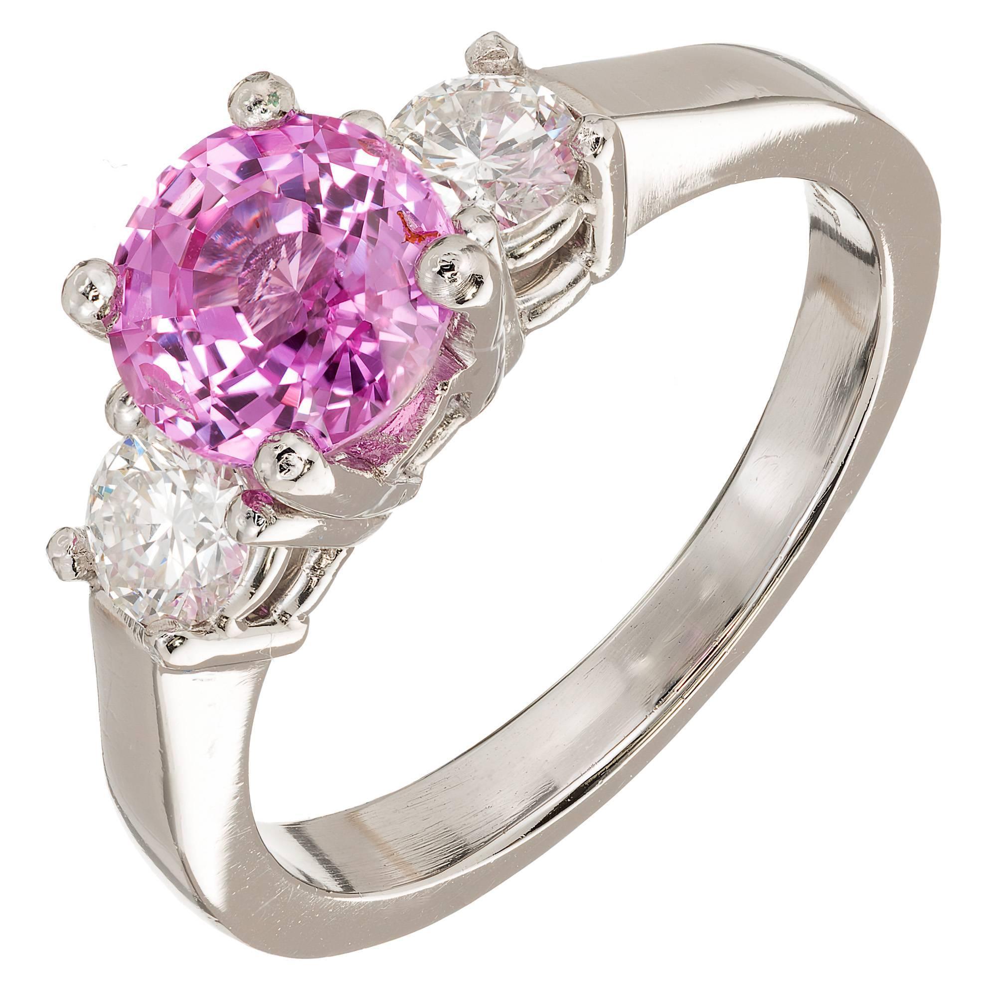1.79 Carat Pink Sapphire Diamond Platinum Three-Stone Engagement Ring