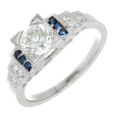 Peter Suchy GIA Certified 1.00 Carat Sapphire Diamond Platinum Engagement Ring