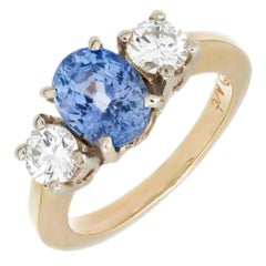 2.14 Carat Oval Natural Blue Sapphire Diamond Gold Engagement Ring