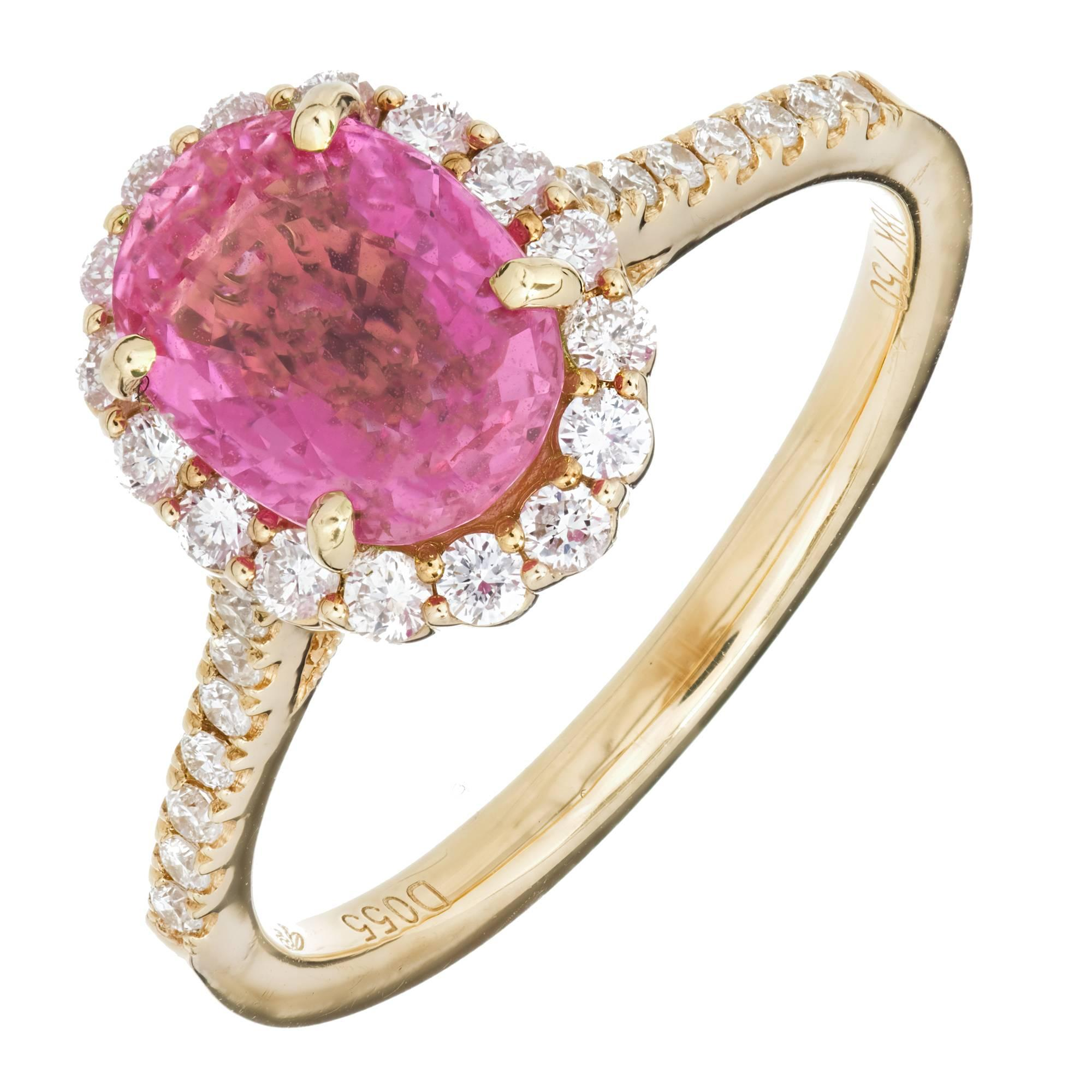 GIA Certified 2.41 Carat Pink Sapphire White Diamond Halo Gold Engagement Ring