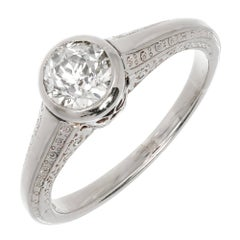 EGL Certified .80 Carat Art Deco Old European Cut Diamond Gold Engagement Ring