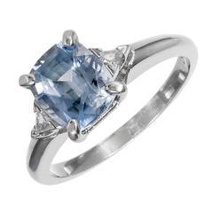 1.99 Carat GIA Certified Blue Sapphire Diamond Platinum Engagement Ring