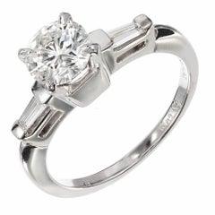 .84 Carat Round Baguette Diamond Platinum Solitair Engagement Ring