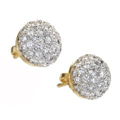 2.75 Carat Diamond Domed Pave White Gold Earrings