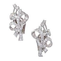 EGL Certified 3.95 Carat White Diamond Platinum Flower Earrings