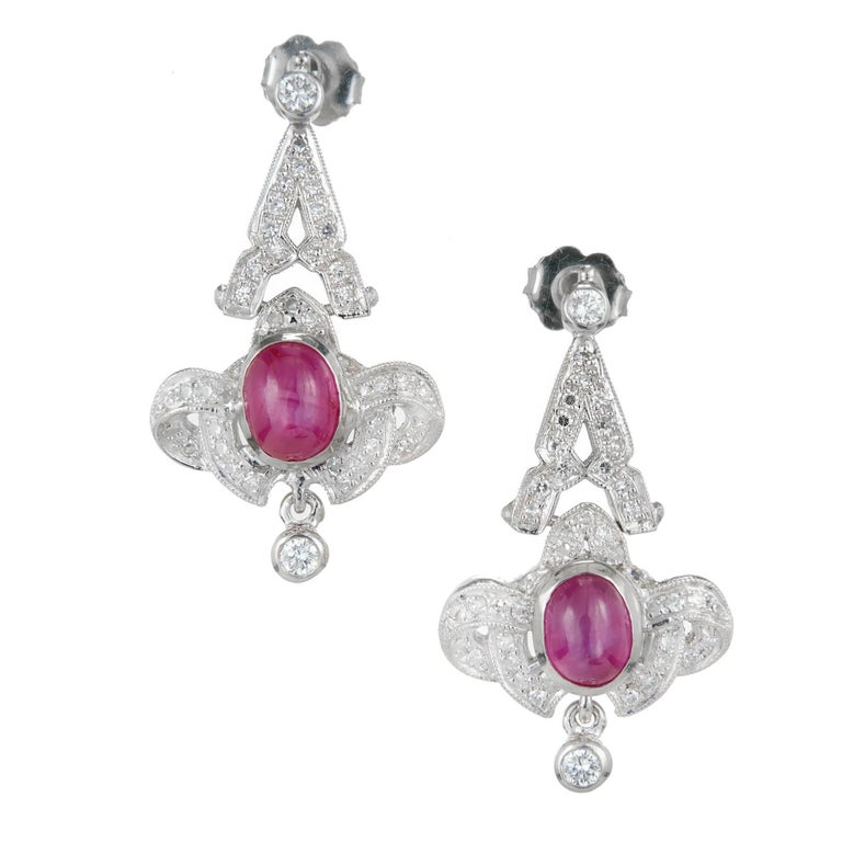 Red Diamond Chandelier Earrings: Edwardian 1.50 Carat Star Ruby Diamond Platinum Dangle